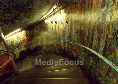 Spiral Stairs With Graffiti On Walls Stock Photo