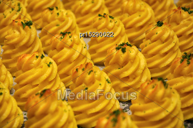 Spirals Of Mashed Potato Cooked And Ready To Serve Stock Photo