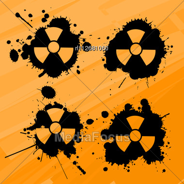 Splats With Nuclear Warning Signs, Design Elements Stock Photo