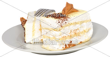 Sponge Cakes With Cup Of Coffee On Plate With Fruit-juice Decoration . Isolated Stock Photo