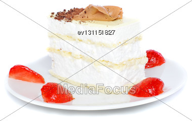Sponge Cakes, Frozen Strawberry With Cup Of Coffee On Plate With Fruit-juice Decoration . Isolated Stock Photo