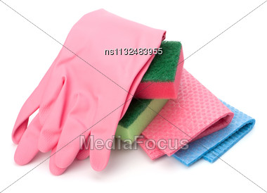 Sponges Group And Gloves Isolated On The White Background Stock Photo