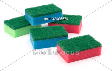 Sponges Group Isolated On The White Background Stock Photo