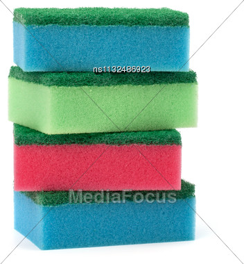 Sponges Stack Isolated On The White Background Stock Photo