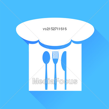Spoon, Fork, Knife And Chef Hat Isolated On Blue Background Stock Photo