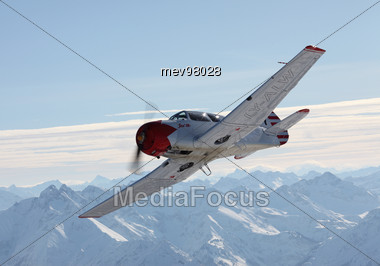 Sport Aircraft, Yak 18T, Aerial View Stock Photo