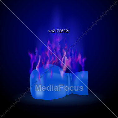 Sport Burning Blue Glove With Fire Flame Isolated On Dark Background Stock Photo