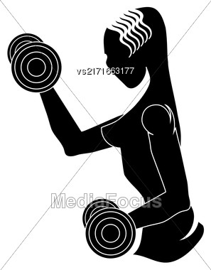 Sport Club Gym Logo Design Isolated On White Background. Female Silhouette With Dumbbels. Fitness Emblem. Strenght Training. Bodybuilder Holding Weight Stock Photo