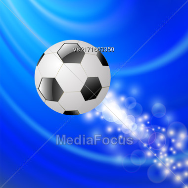 Sport Football Icon On Blue Blurred Wave Background Stock Photo