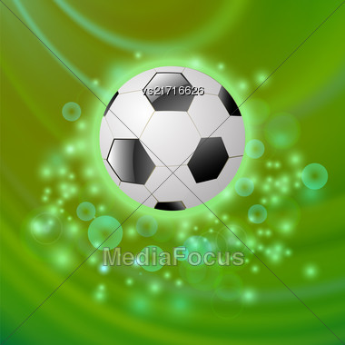 Sport Football Icon On Green Blurred Wave Background Stock Photo