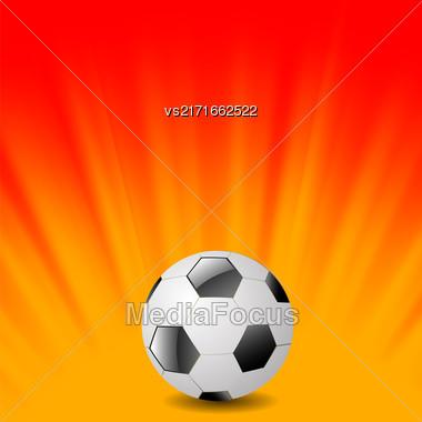 Sport Football Icon On Orange Wave Background Stock Photo