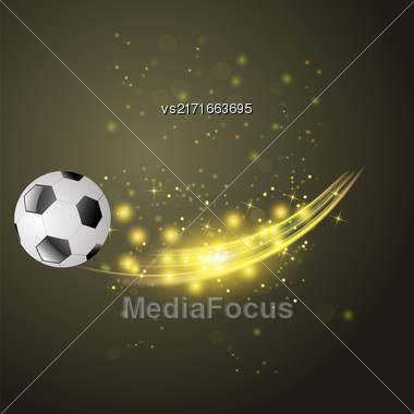 Sport Football Icon With Sparcles And Flares On Dark Background Stock Photo