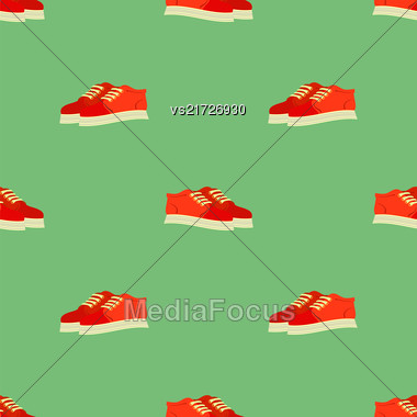 Sport Red Shoes Seamless Pattern Isolated On Green Pattern Stock Photo