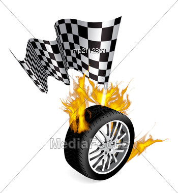 Sports Race Emblems - Tire With Checkered Flag Stock Photo