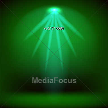 Spotlight Isolated On Green Background.Stage Spotlight Background Stock Photo