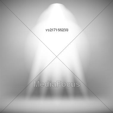 Spotlight Isolated On Grey Background.Stage Spotlight Background Stock Photo