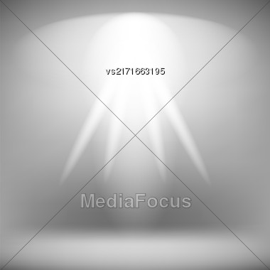 Spotlight Isolated On Grey Background.Stage Spotlight Background Stock Photo