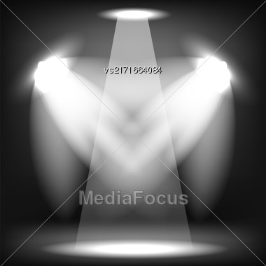 Spotlights Isolated On Black Background. Stage Spotlight Background Stock Photo