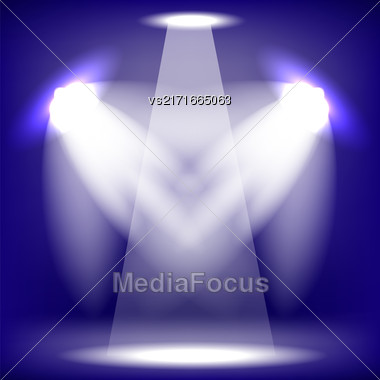 Spotlights Isolated On Blue Background. Stage Spotlight Background Stock Photo