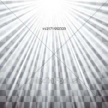 Spotlights On Dark Checkered Background. Stage Spotlight Background Stock Photo