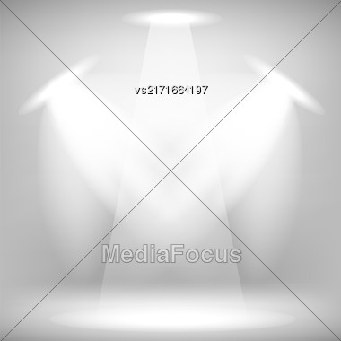Spotlights Isolated On Gray Background. Stage Spotlight Background Stock Photo