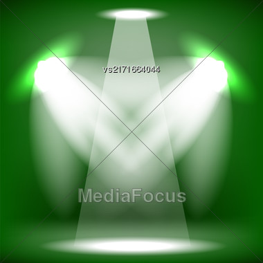 Spotlights Isolated On Green Background. Stage Spotlight Background Stock Photo