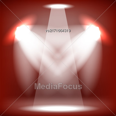 Spotlights Isolated On Red Background. Stage Spotlight Background Stock Photo