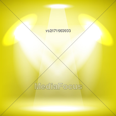 Spotlights Isolated On Yellow Background. Stage Spotlight Background Stock Photo