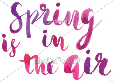 Spring Is In The Air Hand Drawn Inspiration Quote.Vector Typography Poster Design. Ink Lettering Quote. Spring Quote Poster. Hand Lettering Quote In Black And White Colors Stock Photo