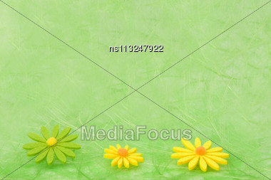 Spring Background. Flowers On Green Sisal Background, Selective DOF Stock Photo
