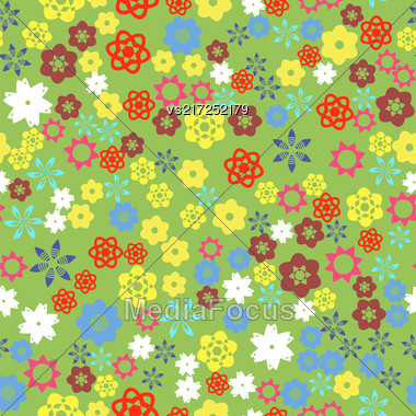 Spring Colored Flower Seamless Pattern On Green Background Stock Photo