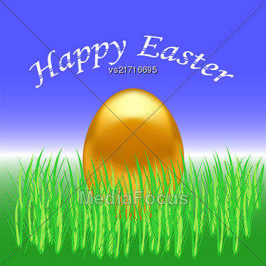 Spring Easter Card. Gold Easter Egg On Green Grass Background Stock Photo