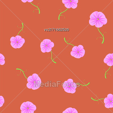 Spring Flower Seamless Pattern On Red Background Stock Photo