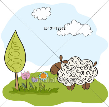 Spring Greeting Card With Sheep Stock Photo