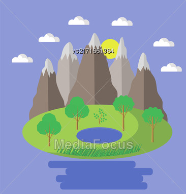 Spring Landscape. Isolated Nature Landscape With Mountains, Hills, Lake And Trees. Summer Landscape. Flat Style Illustration. Nature Background Stock Photo