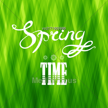 Spring Lettering Design. Green Banner With A Textured Abstract Background And Text Stock Photo