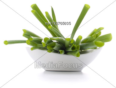 Spring Onions In Bowl Isolated On White Background Cutout Stock Photo