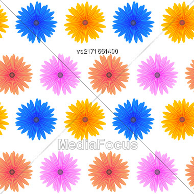 Spring Pink Blue Yellow Flowers Isolated On White Background. Seamless Colorful Flower Pattern Stock Photo