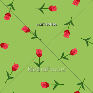 Spring Red Flower Seamless Pattern On Green Background Stock Photo