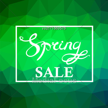 Spring Sale Lettering Design.Green Banner With A Textured Abstract Blurred Flare Background And Text In Square Frame Stock Photo