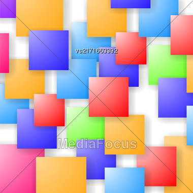 Square Blank Background. Set Of Colorful Squares. Squares Pattern Stock Photo