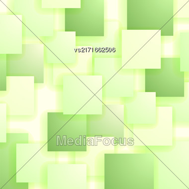 Square Blank Background. Set Of Green Squares. Squares Pattern Stock Photo