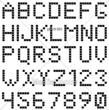 Square Box Styled Font Set. EPS 10 Vector Illustration Without Transparency Stock Photo