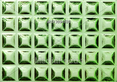 Square Ormanent Of Green Glass Stock Photo