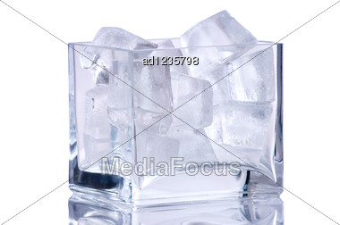 Square Vase With Ice Stock Photo