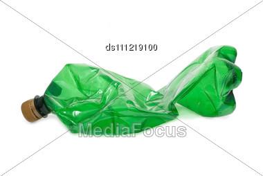 Squashed Plastic Green Bottle Stock Photo