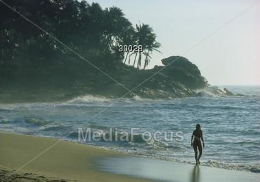 Sri Lanka Beach Walk Stock Photo