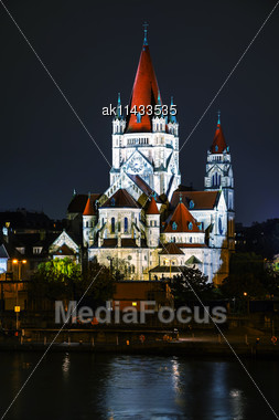 St. Francis Of Assisi Church In Vienna, Austria At Night Stock Photo