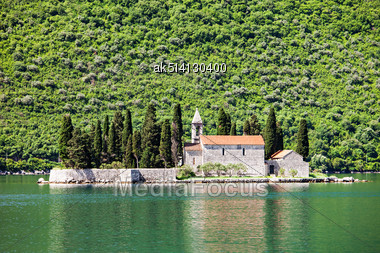 St. George Church On The Island, Perast, Montenegro Stock Photo