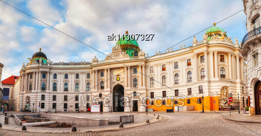 St. Michael's Wing Of Hofburg Palace In Vienna, Austria Early In The Morning Stock Photo